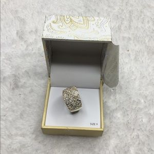 Charter Club Crystal Mesh Wide Ring